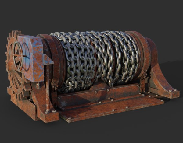 rusty chain winch 3D model