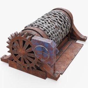 rusty chain winch 3D model