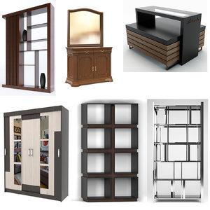 wardrobes bedside tables closets 3D