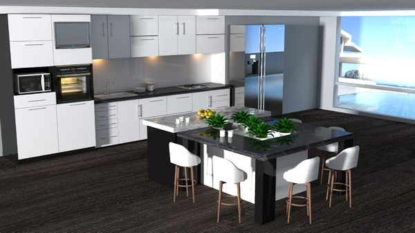 3D kitchen render lights model
