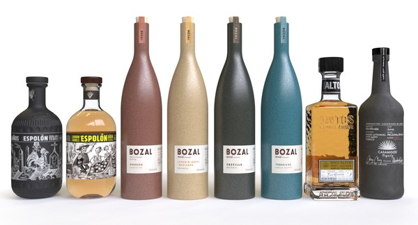 3D model tequila bottles bozal