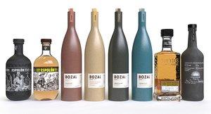 3D model tequila bottles bozal