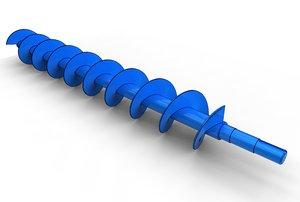 archimedes screw auger 3D