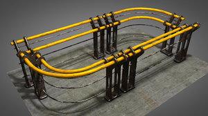 3D barrier handrail rail model