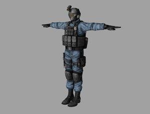 3D shield agent man