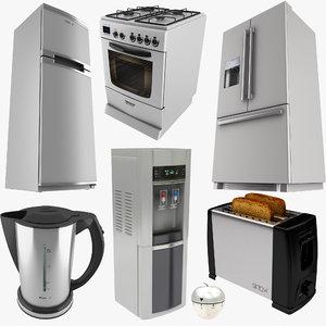 3D kitchen equipment toaster kettle model