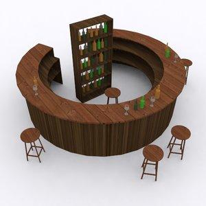 wooden circle bar stool 3D model