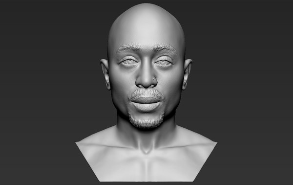 tupac shakur bust ready 3D model