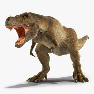 3D model tyrannosaurus rex roaring animal