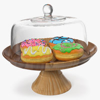 wooden cake stand donuts 3D model