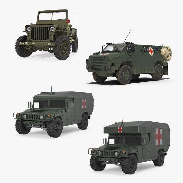 3D model military ambulance rigged
