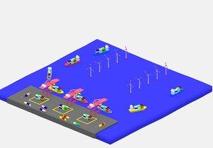 simple cartoon container port 3D
