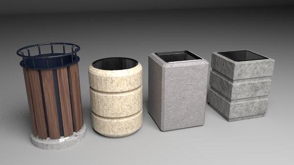 concrete bin set pack 3D