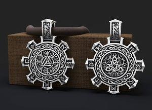 pendant runes symbol printing model