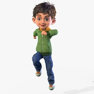 cartoon boy rigged animates model