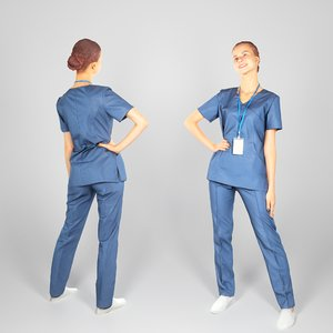 3D human young woman uniform