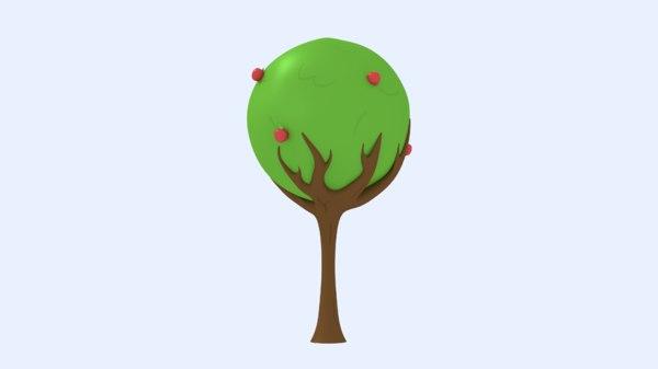 3D apples leaves trunk