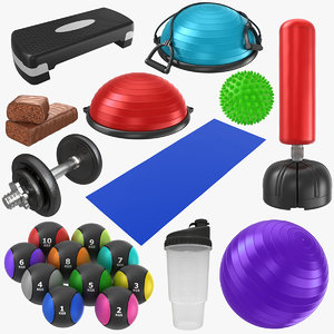 3D model fitness dumbbell yoga