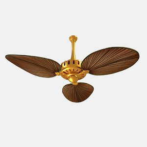 palm leaves ceiling fan 3D model