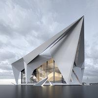 3D building office villa model