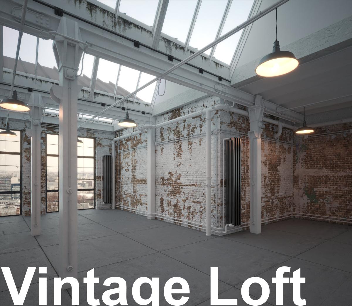 Old vintage industrial Loft Studio Apartment with brick walls