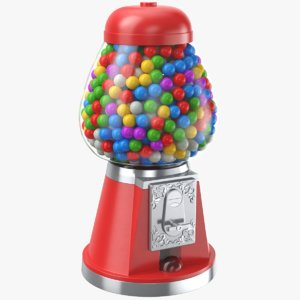 3D real candy gumballs vending machine