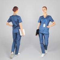 3D human young woman uniform model