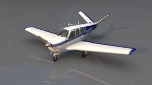 3D model beechcraft bonanza aircraft