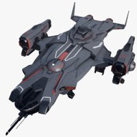 3D sci-fi battlecruiser spaceship