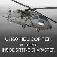 UH60 Battlehawk (Military Helicopter) with 2 Characters Free 3D Model