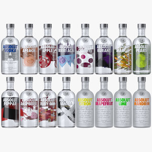 3D absolut vodka flavors bottles