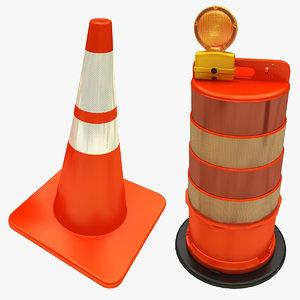 3D traffic drum cone model