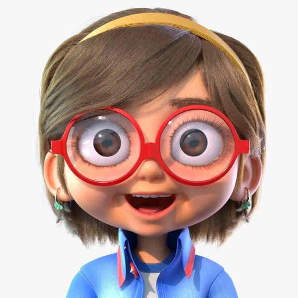 cartoon girl rigged animates 3D model