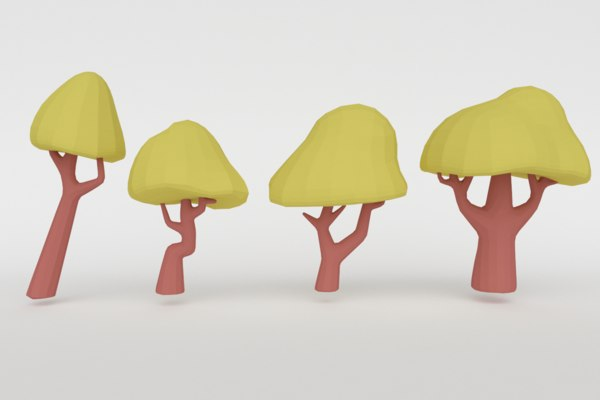 set green trees 3D model