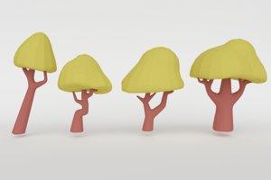 set green trees 3D model