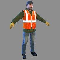 3D model trash worker