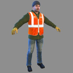 3D model trash worker