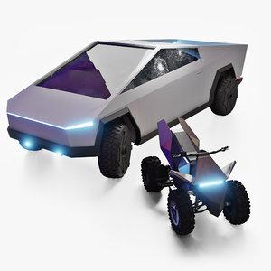 cybertruck cyberquad truck 3D model