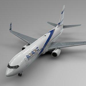 3D el al boeing 737-800