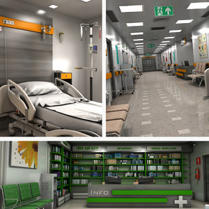 hospital room corridor pharmacy 3D model