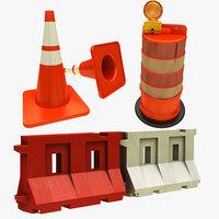 traffic barrier cone drum 3D model
