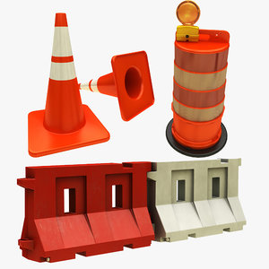 traffic barrier cone drum 3D model