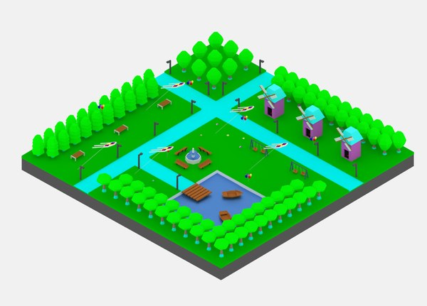 3D simple cartoon park package