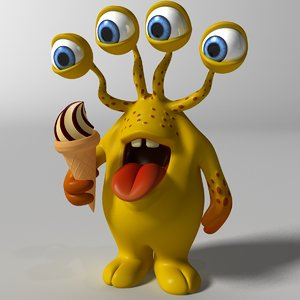 cute yellow monster rigged 3D