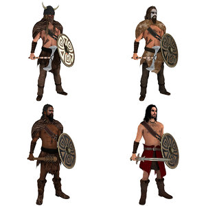 pack rigged barbarian 3D model