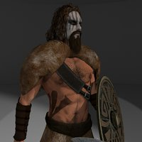 Barbarian 2 3D model Rigged