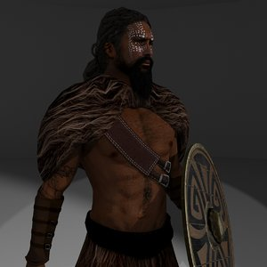 3D rigged barbarian model