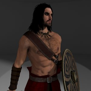 3D model barbarian rigging 4