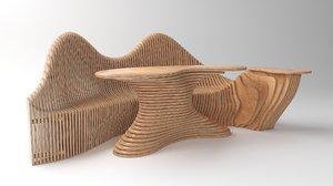 3D parametric bench table