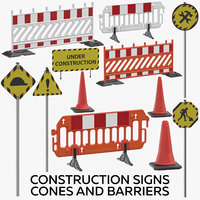3D construction signs cones barriers